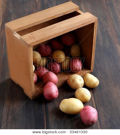 Raw Potatoes In A Wooden  Box