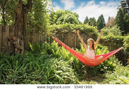 Girl in a hammock