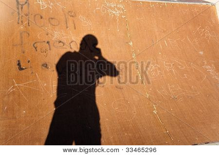 Shadow Of A Fotographer In The Half Pipe