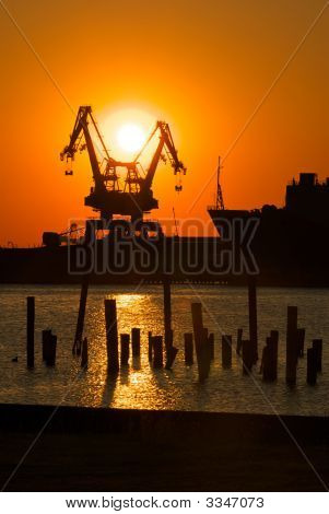 Industrial Shipyard Sunset