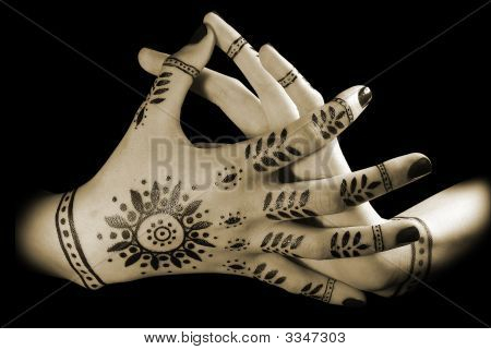 Women'S Hands With Oriental Tattoo