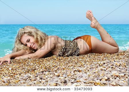 Summer Beach Happy Woman Sunbathing In Bikini Alone