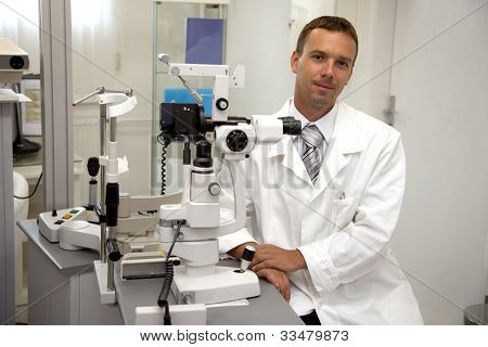 Doctor man  in ophthalmology clinic