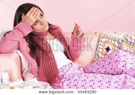 Ill Girl At Sofa