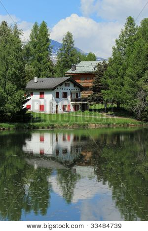 House And White Lake At Crans Montana, By Summer