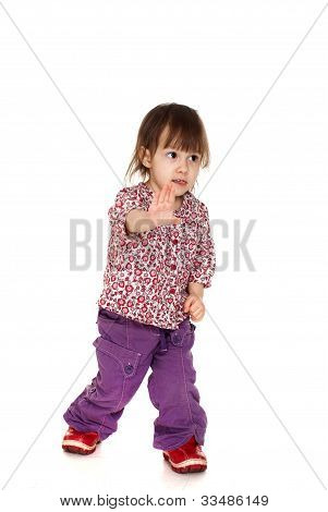 Beautiful Happy Little Caucasian Girl Posing