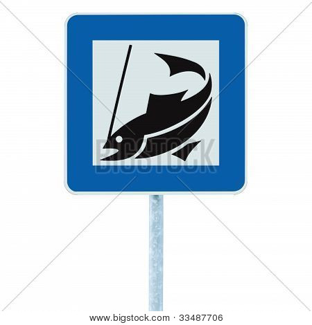 Fish Camp Sign, Isolated Roadside Signpost Pole Post, Fishing Area Place Pointer Traffic Signage In