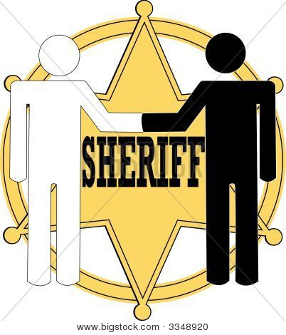 Sheriff Badge Black And White Handshake.