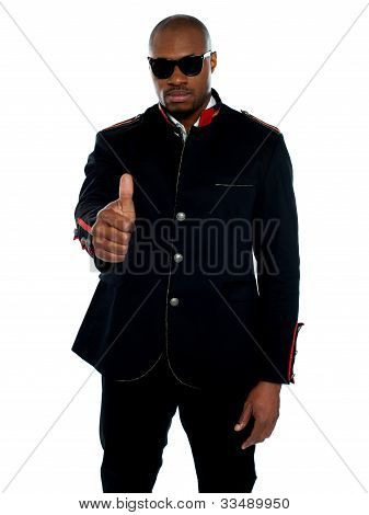 Handsome African Male Showing Thumbs-up