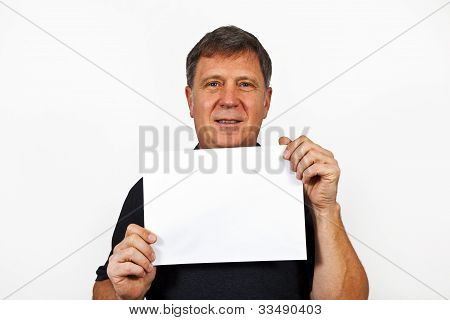 Smart Man Holding An Empty Poster In His Hand