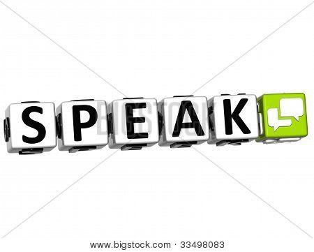 3D Speak Button Click Here Block Text