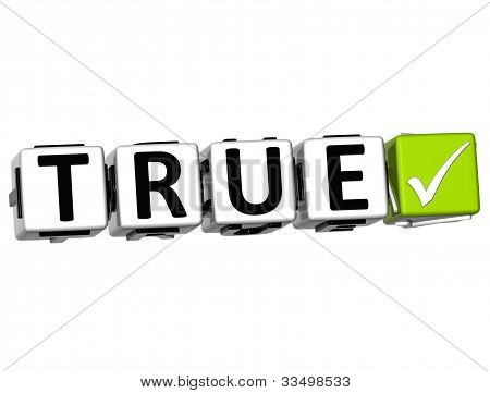 3D True Button Click Here Block Text