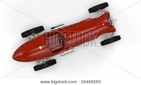 Top View Of A Red Old Race Car