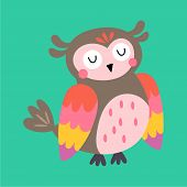 Cute Owl Character Design. Childish Print For T-shirt, Apparel, Cards And Nursery Decoration. Vector poster