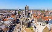pic of nicholas  - Aerial view on the center of Ghent with Saint Nicholas Church in Belgium - JPG