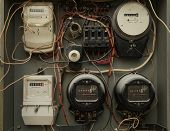 Old Analog Electricity Meter And New Electricity Meters In One Dashboard poster