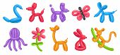 Cartoon Balloon Animals. Birthday Balloons, Holiday Celebration Colorful Toy And Party Animal Balloo poster
