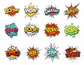 Cartoon Comic Sign Burst Clouds. Speech Bubble, Boom Sign Expression And Pop Art Text Frames. Comics poster