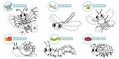 Connect Dots Cartoon Insects Game. Cute Insect Dot To Dot Education Games For Toddlers, Play With Pr poster