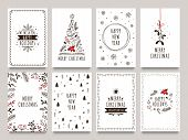 Hand Drawn Winter Holidays Cards. Merry Christmas Card With Floral Ornaments, New Year Tree And Snow poster
