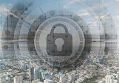 Cybersecurity Mixed Media With Virtual Locking Padlock On Cityscape Background. Data Privacy Protect poster