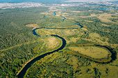 Aerial View Green Forest Woods And River Landscape In Sunny Summer Day. Top View Of Beautiful Europe poster