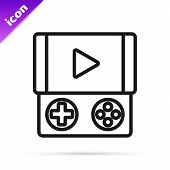 Black Line Portable Video Game Console Icon Isolated On White Background. Gamepad Sign. Gaming Conce poster