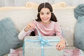 Delivering Happiness. Wait For Santa Claus. Christmas Time. Happy Child With Present Box. Happy New  poster