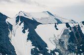 Atmospheric Alpine Minimalist Landscape With Giant Mountain Range And Massive Glacier. Wonderful Mou poster