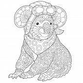 Coloring Page. Coloring Book. Colouring Picture With Retro Steampunk Pilot - Koala Bear. Line Art Sk poster