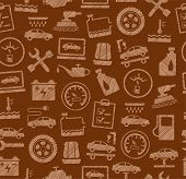 Car Repair And Maintenance, Seamless Pattern, Brown, Colored, Pencil Hatching, Vector. The Automotiv poster
