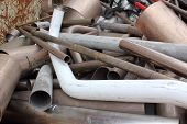 picture of ferrous metal  - assortment of scrap metal ready for recycling - JPG