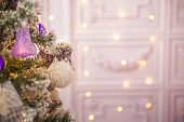 Background From A Christmas Tree Decorated In Blue And Purple Close-up. Greeting Card From A Christm poster