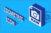 Isometric Raw File Document. Download Raw Button Icon Isolated On Blue Background. Raw File Symbol.  poster