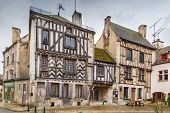 Historical Square With Half-timbered Houses In Noyers (noyers-sur-serein), Yonne, France poster
