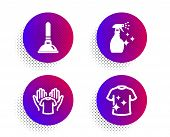 Plunger, Hold T-shirt And Washing Cleanser Icons Simple Set. Halftone Dots Button. Clean T-shirt Sig poster