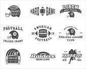 College Rugby And American Football Team Badges, Logos, Labels, Insignias In Retro Style. Graphic Vi poster