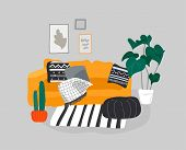 Scandinavian Or Nordic Style Living Room Interior. Hand Drawing Scandinavian Style Cozy Interior Wit poster