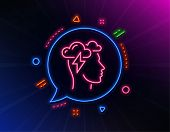 Mindfulness Line Icon. Neon Laser Lights. Psychology Sign. Cloud Storm Symbol. Glow Laser Speech Bub poster