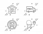 Parking, Metro Subway And Free Delivery Line Icons Set. Airplane Sign. Garage, Underground, Shopping poster