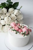 Making The Classic Wedding. Birthday Cake. Cake Look With Flowers Decorations White Cake Decorated F poster