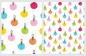 Colorful Christmas Bauble Seamless Vector Patterns. Christmas Tree Decoration Print. Red, Orange, Ye poster