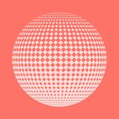 Abstract Dotted Round Sphere. Vector Illustration. 3d Halftone Dot Effect. Pink Dotted Sphere In Whi poster