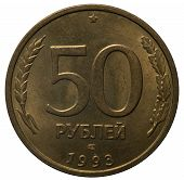 Money From Different Countries. Russian Coin 50 Rubles 1993.money From Different Countries. Russian  poster