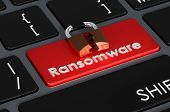 Ransomware Red Button On Keyboard, 3d Rendering poster