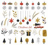 Christmas, New Year Design Elements. Hand Drawn Isolated On White Background Set. Set Of Winter Icon poster