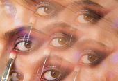 Kaleidoscopic Photo Of Womans Beautiful Eye With Purple Smokey Makeup. Glossy And Shiny Glitter For  poster