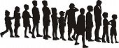 image of silhouette  - vector silhouettes children - JPG
