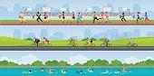 Triathlon Marathon Sport Competition Race, Set Of Sportsmen People On Bike, Running And Swimming, Ve poster