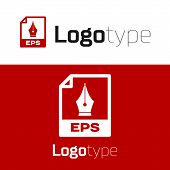 Red Eps File Document. Download Eps Button Icon Isolated On White Background. Eps File Symbol. Logo  poster